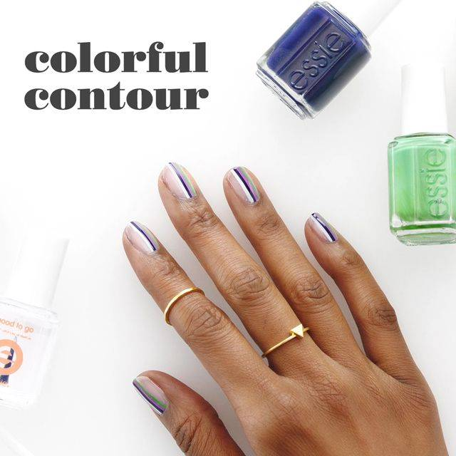 colourful contour nail art