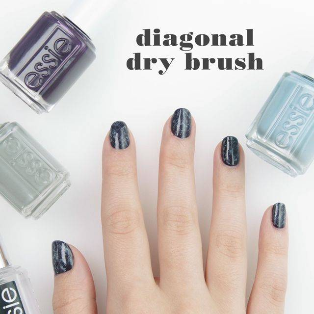diagonal dry brush nail art