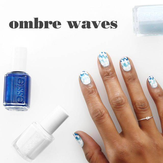ombre waves nail art